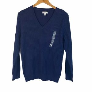 NEW Kim Rogers blue cotton v neck cable sweater